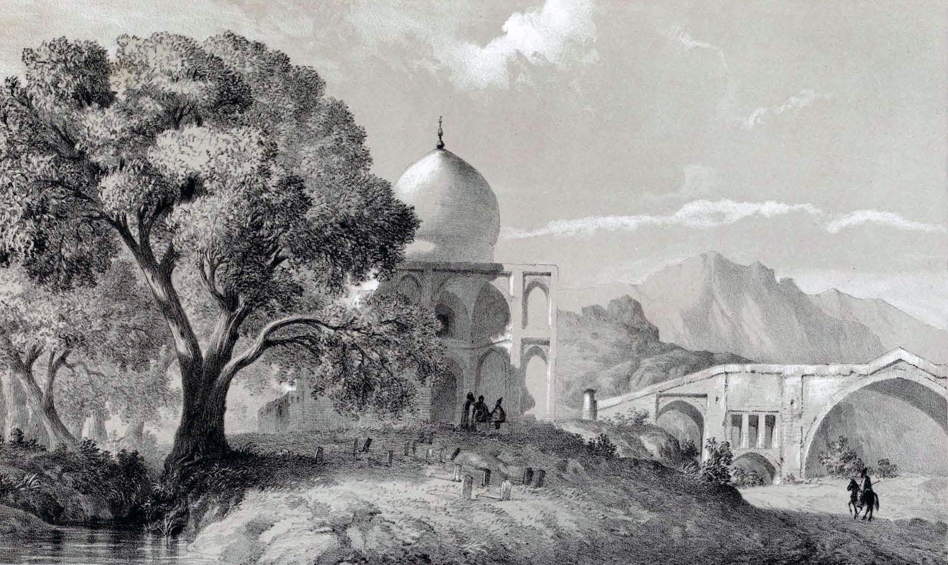 Imam_Zadeh_and_bridge_Solimanyeh_by_Eugène_Flandin