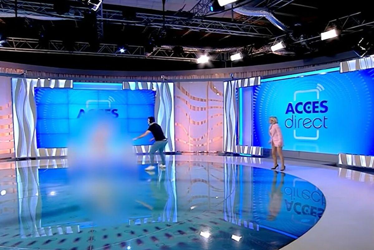 (ویدیو) حمله زن برهنه به خانم مجری روی آنتن زنده!
