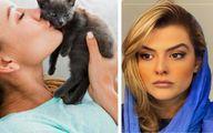 دنیا مدنی به گربه عشق ورزید و بدن گربه را بوسید   ویدیو