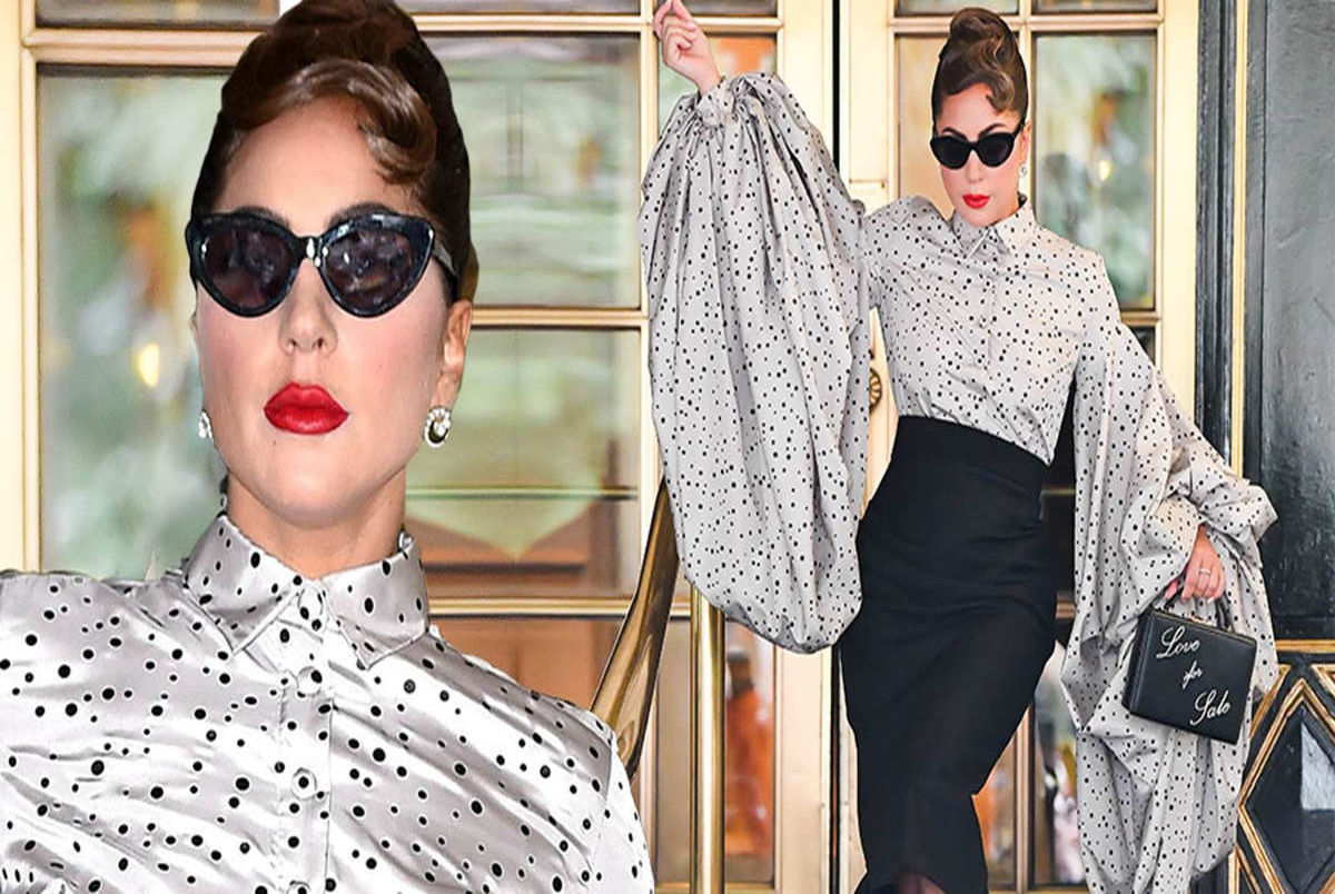 Lady Gaga exudes glamour in a very dramatic puff sleeved blouse in NYC